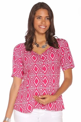 Due Maternity Macy Pregnancy And Beyond Button Front Top  - Magenta/White