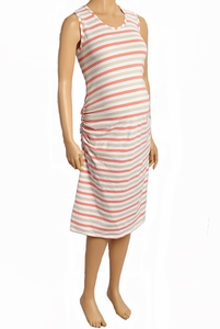 Due Maternity Pregnancy And Beyond Tank Dress - Coral/Taupe/White Stripe