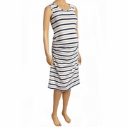 Due Maternity Pregnancy And Beyond Tank Dress - Navy/Taupe/White Stripe
