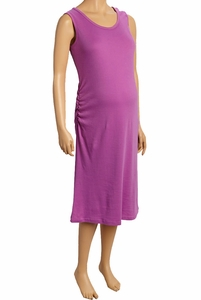 Due Maternity Pregnancy And Beyond Tank Dress - Solid Radiant Orchid