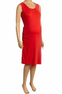 Due Maternity Pregnancy And Beyond Tank Dress - Solid Red