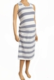 Due Maternity Pregnancy And Beyond Tank Dress - White/Navy Gradient Stripe