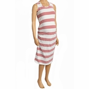 SOLD OUT Due Maternity Pregnancy And Beyond Tank Dress - White/Red Gradient Stripe