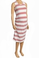 Due Maternity Pregnancy And Beyond Tank Dress - White/Red Gradient Stripe