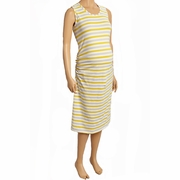 Due Maternity Pregnancy And Beyond Tank Dress - Yellow/Taupe/White Stripe