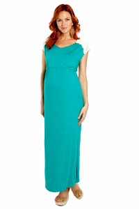 Everly Grey Abbey Lace Detail Maternity Maxi Dress