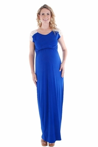 TEMPORARILY OUT OF STOCK Everly Grey Abbey Lace Detail Maternity Maxi Dress