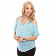 Everly Grey Arden Split Shoulder Striped Maternity Top