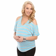 SOLD OUT Everly Grey Arden Split Shoulder Striped Maternity Top
