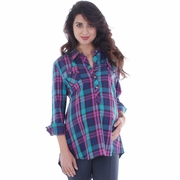 Everly Grey Bethany Plaid Button Down Maternity Shirt