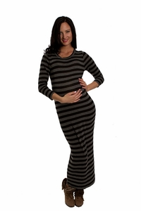 Everly Grey Genevieve Long Stripe Maternity Sweater Maxi Dress