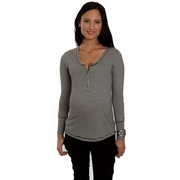 Everly Grey Jaden Striped Henley Maternity Top