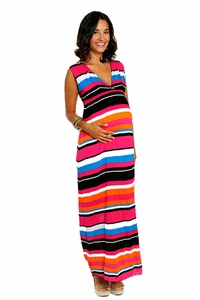 Everly Grey Jill Striped Sleeveless Maxi Dress