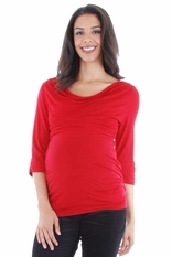 Everly Grey Judith Draped Neck Maternity Top