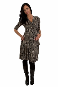 Everly Grey Kaitlyn Geometric Print Maternity Wrap Dress