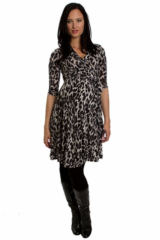 Everly Grey Kaitlyn Leopard Print Maternity Wrap Dress