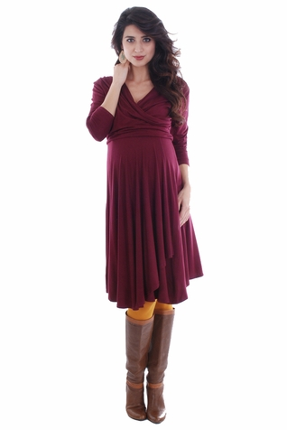 Everly Grey Kaylee 3/4 Sleeve Faux Wrap Maternity Dress