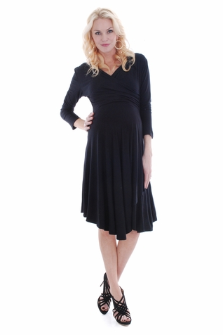 SOLD OUT Everly Grey Kaylee 3/4 Sleeve Faux Wrap Maternity Dress
