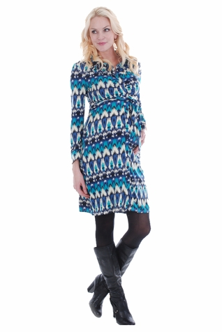 SOLD OUT Everly Grey Lucy Ikat Maternity Shirt Dress