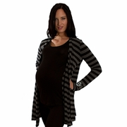 Everly Grey Sherman Cardigan Sweater - Charcoal Stripe
