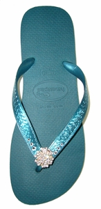 SOLD OUT Fancy Flips Havaianas Flip Flops With Swarovski Crystals - Aqua - FINAL SALE