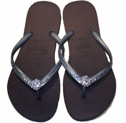 SOLD OUT Fancy Flips Havaianas Flip Flops With Swarovski Crystals - Black - FINAL SALE