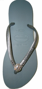 Fancy Flips Haviainnas Flip Flops With Swarovski Crystals - Silver Moon - FINAL SALE