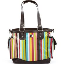 SOLD OUT Fleurville Cocoa Stripe Lexie Tote Diaper Bag