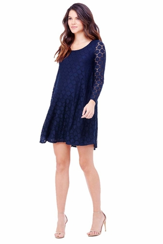 SOLD OUT Ingrid & Isabel Long Sleeve Dot Lace Maternity Swing Dress