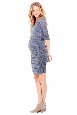 Ingrid & Isabel Marble 3/4 Shirred Maternity Dress