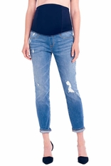Ingrid & Isabel Mia Boyfriend Distressed Maternity Jeans With Crossover Panel