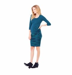 Ingrid & Isabel Stripe 3/4 Shirred Maternity Dress