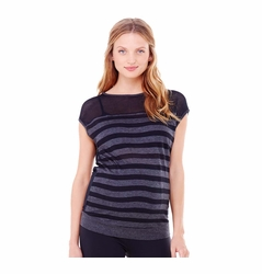 Ingrid & Isabel Stripe Mesh Active Maternity Top