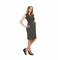 Japanese Weekend d&a Drape Back Stripe Maternity And Nursing Dress