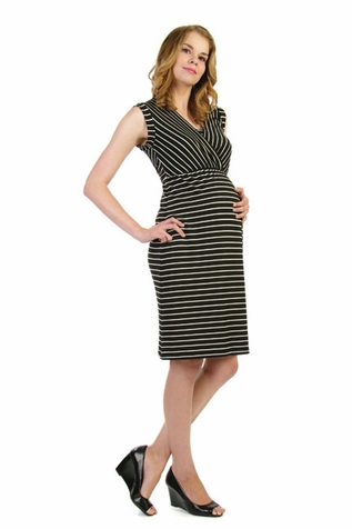 SOLD OUT Japanese Weekend d&a Drape Back Stripe Maternity And Nursing Dress