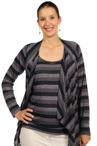 Japanese Weekend d&a Maternity And Nursing Top With Jacket - Stripes
