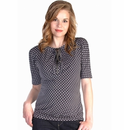 SOLD OUT Japanese Weekend d&a Polka Dot Keyhole Tie Detail Maternity Blouse