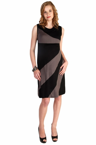 SOLD OUT Japanese Weekend Diagonal Stripe Color Block Maternity And Nursing Dress