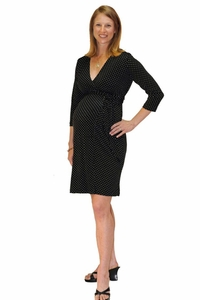 Japanese Weekend Luxe Jersey Maternity Wrap Dress - Polka Dot