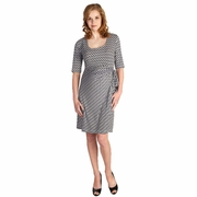 Japanese Weekend Navy Chain Patterned Wrap Maternity Dress