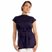 Japanese Weekend Stripe Boat Neck Maternity Tunic Top With Tank