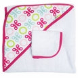 JJ Cole Hooded Towel And Washcloth Set - Pink Butterfly