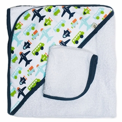JJ Cole Hooded Towel And Washcloth Set - White Vroom