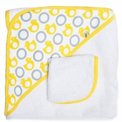 TEMPORAILY OUT OF STOCK  JJ Cole Hooded Towel And Washcloth Set - Yellow Ducks