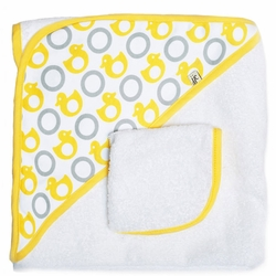 Sold Out JJ Cole Hooded Towel And Washcloth Set - Yellow Ducks