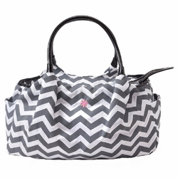 TEMPORARILY SOLD OUT JP Lizzy Allure Diaper Bag - Grey/White Chevron