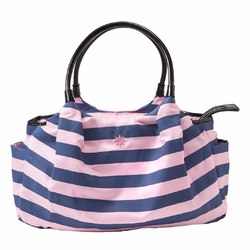 JP Lizzy Allure Diaper Bag - Pink/Navy Stripe