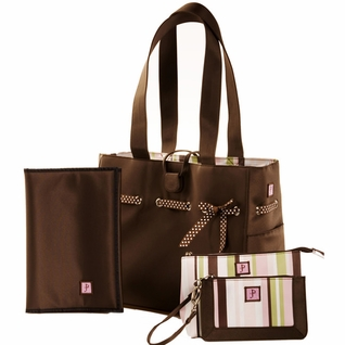 SOLD OUT JP Lizzy Classic Tote Diaper Bag Set - Mocha Mint