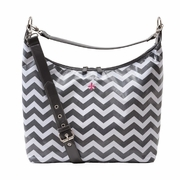 JP Lizzy Glazed Hobo Diaper Bag - Grey/White Chevron