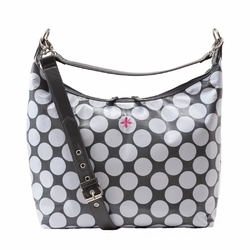 JP Lizzy Glazed Hobo Diaper Bag - Grey/White Dot